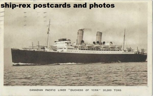 DUCHESS OF YORK (1929, Canadian Pacific) postcard (a2)